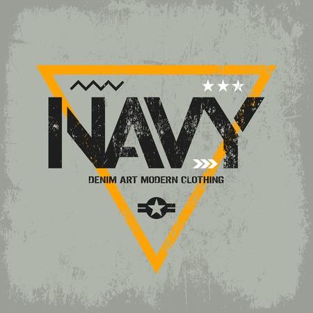 warlike: Modern american navy grunge effect tee print vector design isolated on light background. Premium quality superior military shabby logo concept. Threadbare warlike label for light t-shirt.