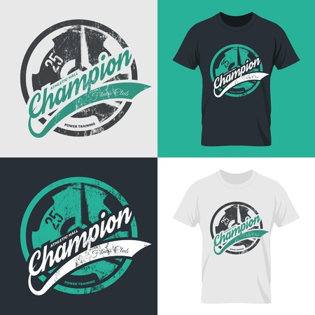 superior: Modern fitness center isolated tee print vector design set. Premium quality superior champion logo concept. Threadbare iron barbell. Shabby t-shirt athletic club emblem illustration.