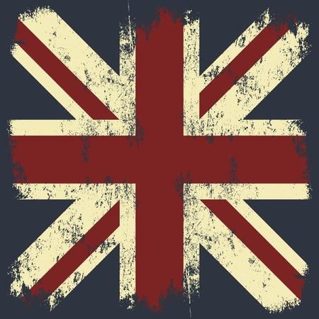 grunge union jack: Vintage United Kingdom of Great Britain and Northern Ireland flag tee print vector design. Grunge Union Jack illustration. Premium quality London t-shirt wear emblem concept. Illustration