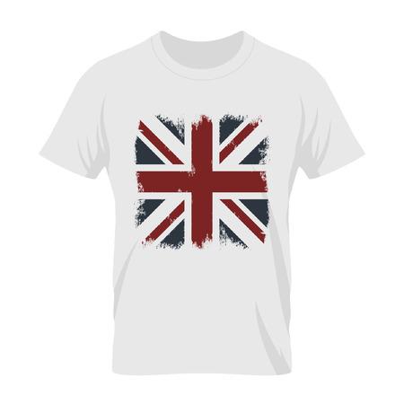 grunge union jack: Vintage United Kingdom of Great Britain and Northern Ireland flag tee print vector design. Grunge Union Jack illustration. Premium quality London t-shirt wear emblem concept mock up. Illustration