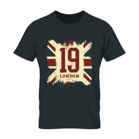 grunge union jack: Vintage United Kingdom of Great Britain and Northern Ireland flag tee print vector design. Grunge Union Jack illustration. Premium quality number London t-shirt wear emblem concept mock up.