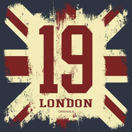 grunge union jack: Vintage United Kingdom of Great Britain and Northern Ireland flag tee print vector design. Grunge Union Jack illustration. Premium quality number London t-shirt wear emblem concept.