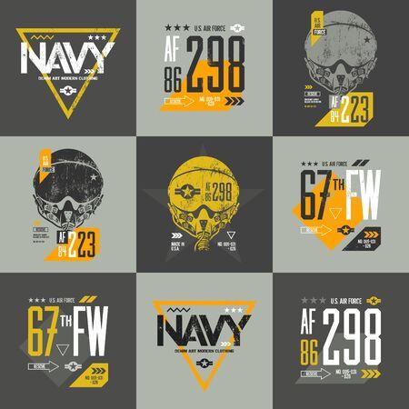 warlike: American air force grunge effect number t-shirt design vector set. Threadbare aviation pilot helmet tee print emblem. Shabby aircraft illustration and military number t-shirt logo concept.