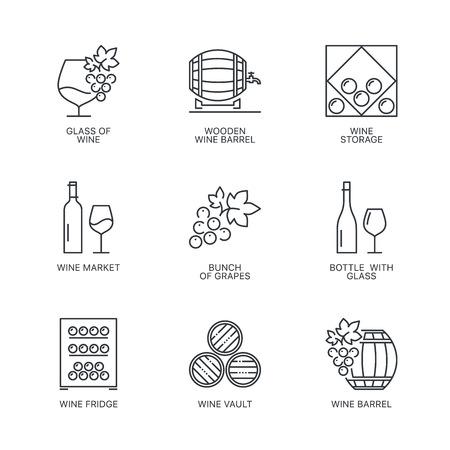 storage: Thin line wine icons set. Web infographics simple mono outline wine icon symbol collection.