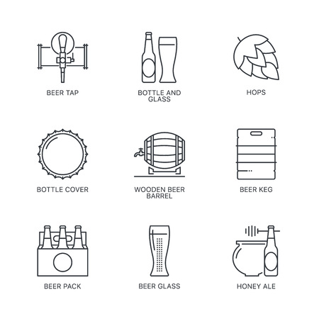 Thin line beer concept isolated on white background Illustration