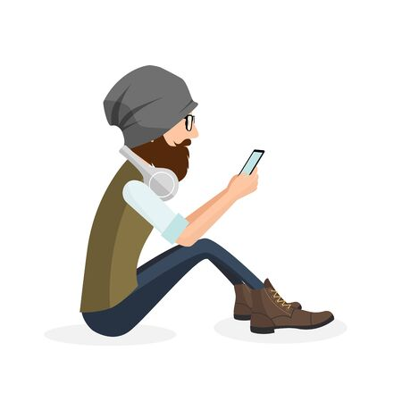 cell phone screen: Hipster handsome young man sitting and using mobile smart phone vector illustration. Isolated long beard man in hat looking to vintage fashion website on cell phone screen through trendy glasses.