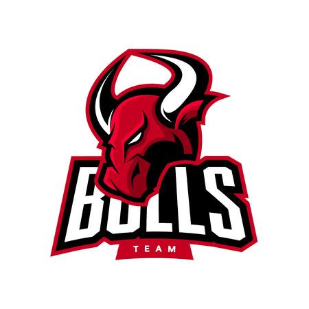 Red furious bull sport vector logo Illustration
