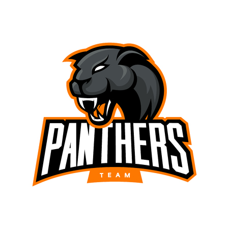 Furious panther sport vector logo concept isolated on white background. Web infographic professional team pictogram.Premium quality wild animal t-shirt tee print illustration.