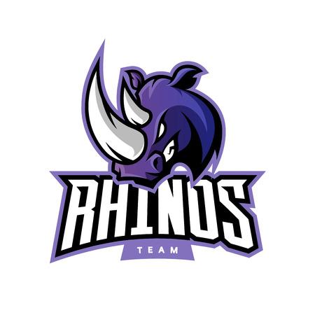 Notion de logo vecteur de rhinocéros furieux sport isolé sur fond blanc. Pictogramme de l'équipe professionnelle Web infographie.