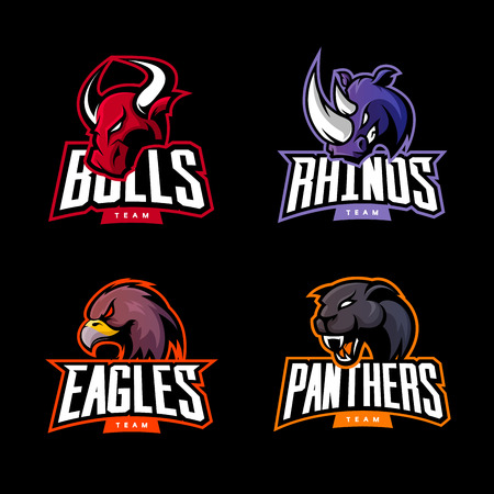 Furious rhino, bull, eagle and panther sport vector logo concept set isolated on dark background. Web infographic professional team pictogram. Premium quality wild animal and bird t-shirt tee print illustration.