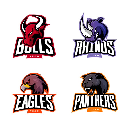 Furious rhino, bull, eagle and panther sport vector logo concept set isolated on white background. Web infographic professional team pictogram. Premium quality wild animal and bird t-shirt tee print illustration. 向量圖像