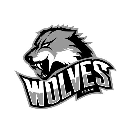 Concepteur de logo de vecteur de sport de loup furieux isolé sur fond blanc Banque d'images - 72782171