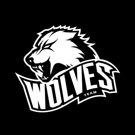 Furious wolf sport mono vector logo concept isolated on dark background.