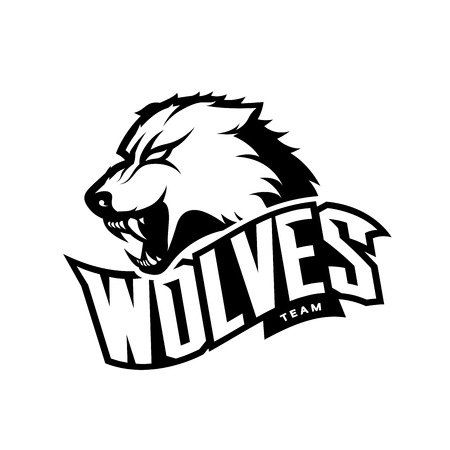 Furious wolf sport mono vector logo concept isolated on white background. Illustration