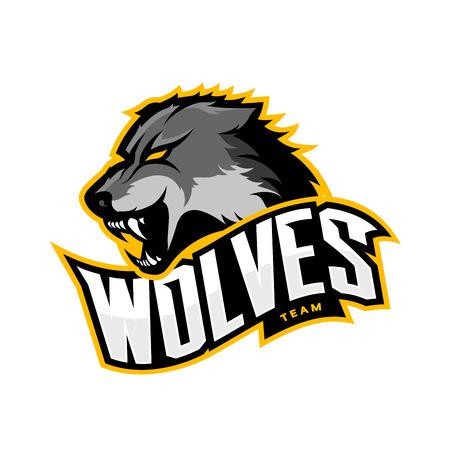 Furious wolf sport vector logo concept isolated on white background. Web infographic predator team pictogram.Premium quality wild animal t-shirt tee print illustration. Illustration