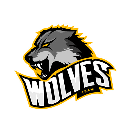 Furious wolf sport vector logo concept isolated on white background. Web infographic predator team pictogram.Premium quality wild animal t-shirt tee print illustration. Vectores