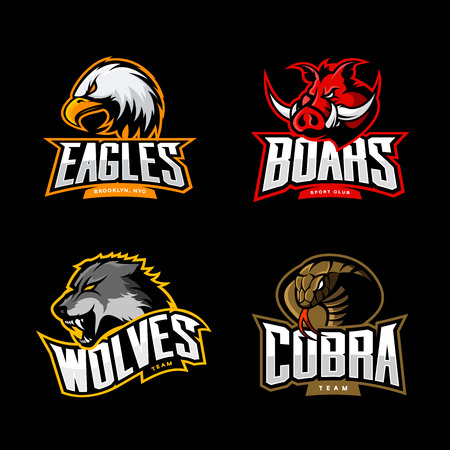 Furious cobra, wolf, eagle and boar sport vector logo concept set isolated on dark background.