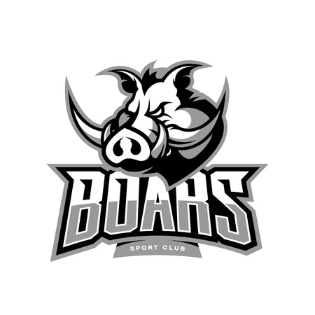 Furious boar sport club vector logo concept isolated on white background. Illustration