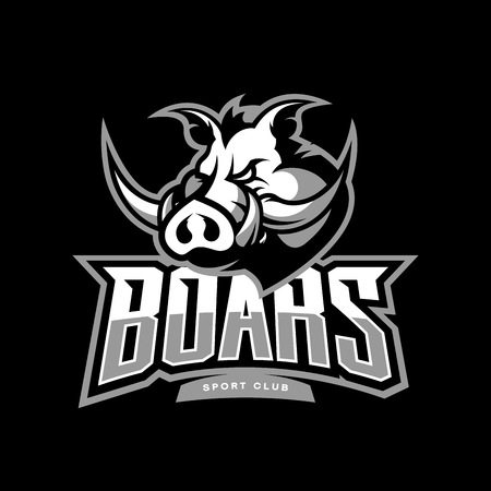 Furious boar sport club vector logo concept isolated on dark background