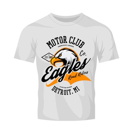 mi: Vintage American furious eagle custom bike motor club tee print vector design isolated on white t-shirt mockup