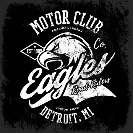 detroit: Michigan, Detroit street wear t-shirt emblem. Premium quality wild bird superior logo concept illustration. Illustration