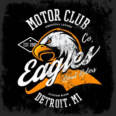 bicicletas personalizadas diseño del águila furiosa americana del vector de la camiseta del club del motor de impresión aisladas sobre fondo oscuro. Michigan, Detroit desgaste de la calle camiseta emblema. Calidad superior de aves silvestres logotipo superior de la ilustración del concepto.