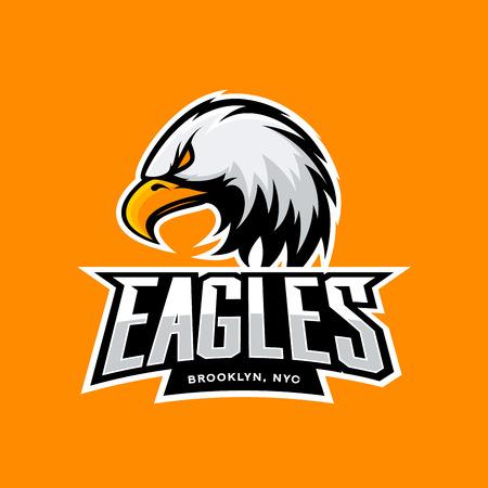 Furious eagle sport vector logo concept isolated on orange background. Professional New York Brooklyn team pictogram design. Premium quality wild bird t-shirt tee print illustration. 일러스트