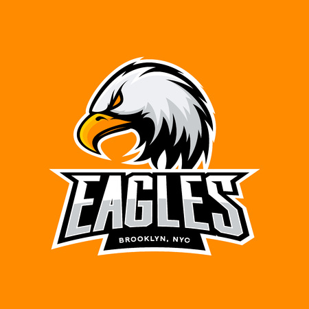 Furious eagle sport vector logo concept isolated on orange background. Professional New York Brooklyn team pictogram design. Premium quality wild bird t-shirt tee print illustration. Ilustração