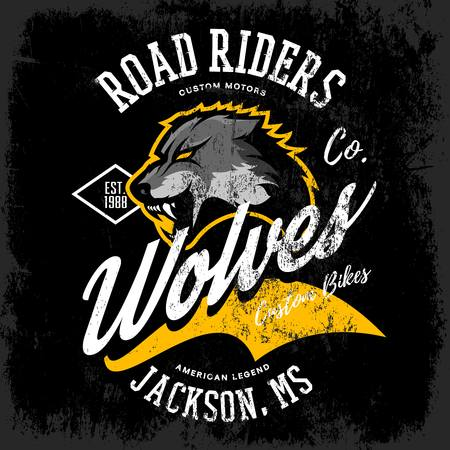 Vintage American furious wolf bikers club tee print vector design isolated on dark background. Mississippi, Jackson street wear t-shirt emblem. logo concept illustration.