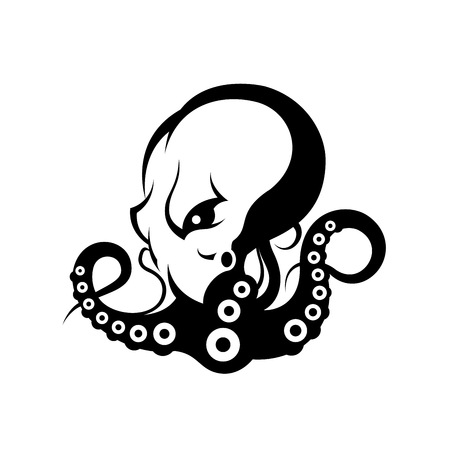 Furious octopus sport vector logo concept isolated on white background. Modern professional team badge design. Premium quality wild cephalopod mollusk t-shirt tee print illustration.