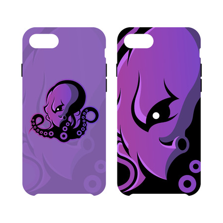 Furious octopus sport vector logo concept smart phone case isolated on white background. Modern team badge design. Premium quality wild cephalopod mollusk artwork cell phone cover illustration. Illustration