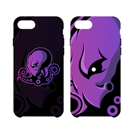 cephalopod: Furious octopus sport vector logo concept smart phone case isolated on white background. Modern team badge design. Premium quality wild cephalopod mollusk artwork cell phone cover illustration. Illustration
