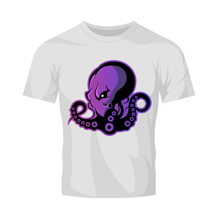 cephalopod: Furious octopus sport vector logo concept isolated on white t-shirt mockup. Modern professional team badge design. Premium quality wild cephalopod mollusk t-shirt tee print illustration.