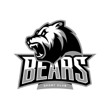 Furious bear sport vector logo concept isolated on white background. Modern predator professional team badge design. Premium quality wild animal t-shirt tee print illustration.