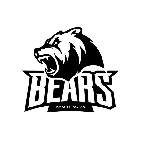 Furious bear sport mono vector logo concept isolated on white background. Modern predator professional team badge design. Premium quality wild animal t-shirt tee print illustration.
