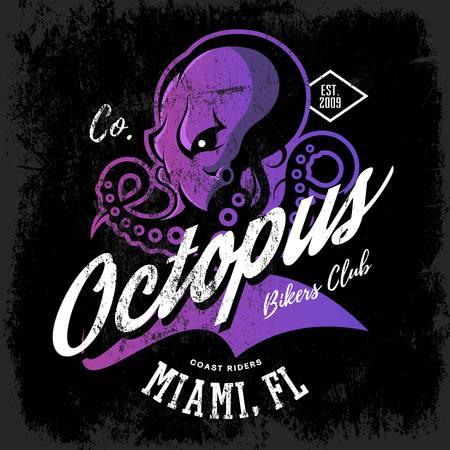 Vintage American furious octopus bikers club tee print vector design isolated on dark background