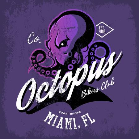 cephalopod: Vintage American furious octopus bikers club tee print vector design
