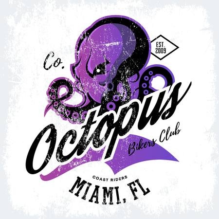 cephalopod: Vintage American furious octopus bikers club tee print vector design isolated on white background. Street wear t-shirt Illustration