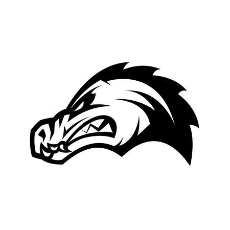 Furious alligator head sport mono vector logo concept isolated on white background. Professional team predator badge modern design. Premium quality wild animal t-shirt tee print illustration.