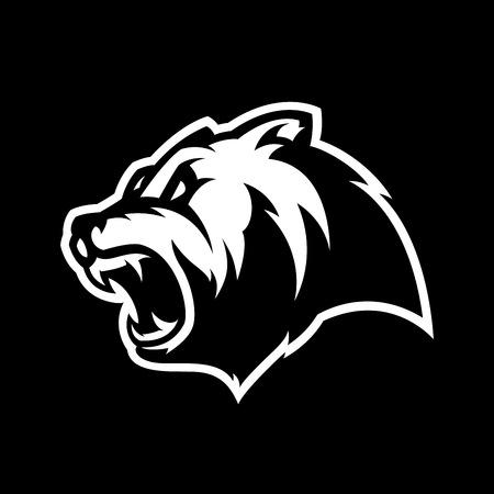 Furious bear head sport mono vector logo concept isolated on dark background. Modern predator professional team badge design.