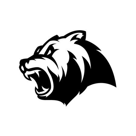 Concepto furioso del logotipo del vector del deporte de la cabeza del oso mono aislado en el fondo blanco. Diseño de insignia de equipo profesional depredador moderno.