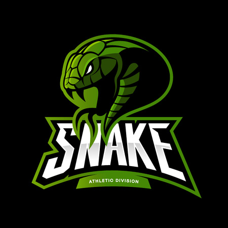 Furious green snake sport vector logo concept isolated on black background.