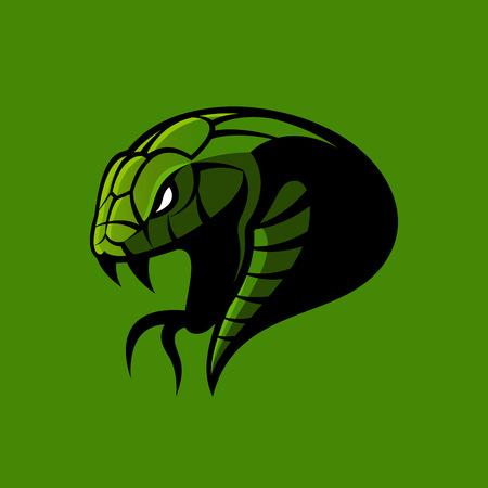 Concepto de logotipo de vector de deporte de serpiente verde furioso aislado sobre fondo verde.