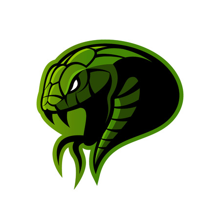 Furious green snake sport vector logo concept isolated on white background.
