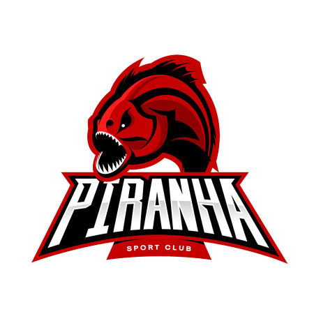 Furious piranha sport vector logo concept isolated on white background.