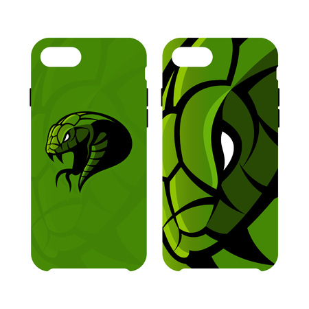 Furious green snake head sport vector logo concept smart phone case isolated on white background.