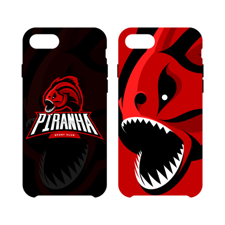 Furious piranha sport vector logo concept smart phone case isolated on white background.