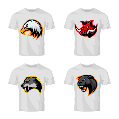 Furious boar, wolf, panther and eagle head sport vector logo concept set isolated on white t-shirt mockup.