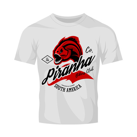 Vintage American furious piranha bikers club tee print vector design isolated on white t-shirt mockup. Street wear t-shirt emblem. Premium quality fearsome fish superior logo concept illustration.