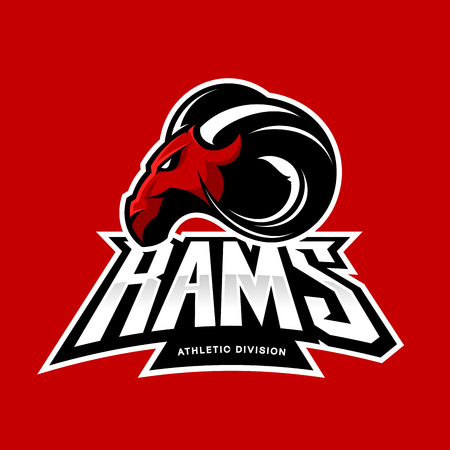 Furious ram sport club vector logo concept isolated on red background. Modern professional team badge mascot design. Premium quality wild ram animal athletic division t-shirt tee print illustration. 일러스트